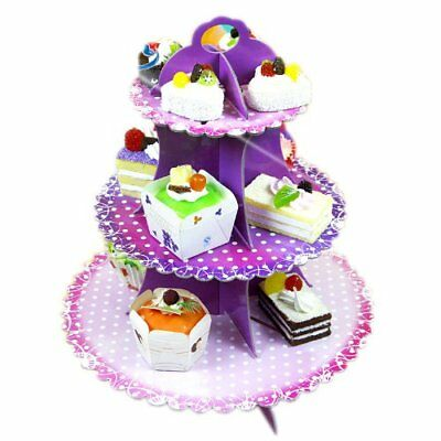 3 Tier Cake Muffin Cake Stand Holder Paper Party Wedding Decor Dot Pattern L8Q1