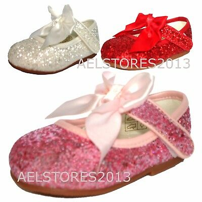 Girls Bridesmaids Bow Ribbon Glitter Party Shoes Shiny Patent Shoes Infant 3-8