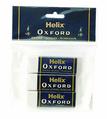 Helix Oxford Large Sleeve Erasers - Premium Rubber School Stationery - Pack of 3
