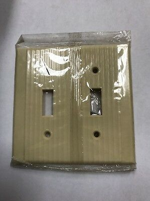 NOS Leviton Bakelite Double Light Switch Cover Plate Ribbed Ivory New Old Stock