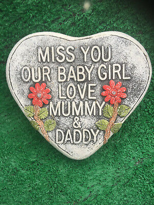 Fibreglass Case & Mould/ Memorial Heart/ Miss You Our Baby Girl Love Mummy & Dad
