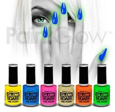 SET 6 COLORI SMALTO nail polish FLUO-FOSFORESCENTE uv wood mani unghie make up