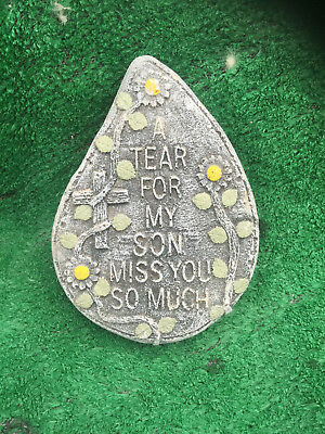 Fibreglass Case & Mould/ Memorial Heart/ A Tear For My Son Miss You So Much