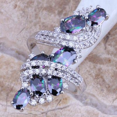 Rainbow Mystic White CZ 925 Sterling  Ring