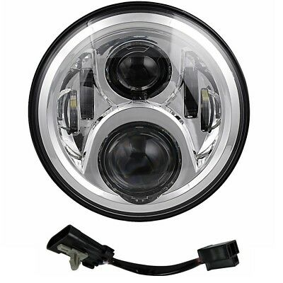 7inch Motorcycle Chrome Projector Motor Headlight Gen 2 LED Light Bulb Harley