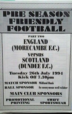 Morecambe V Dundee Utd 26/7/1994 Friendly