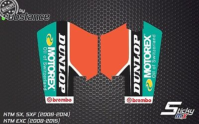 KTM SX SXF EXC fork protector stickers decals front graphics 2010 2012 2007-2014