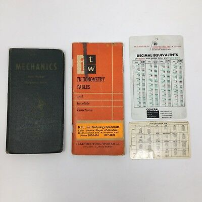 Mechanics Vest Pocket Reference Book 1945 Wolfe Phelps And Trigonometry Tables