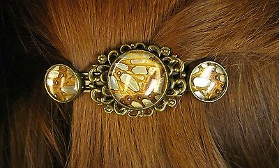 Hairclip with real butterfly wing under cabochon # 3