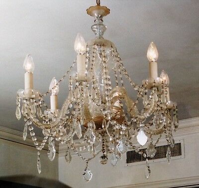 Beautiful Antique Glass Crystal Chandelier - Restoration Project