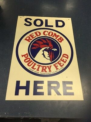 Vintage Red Comb Poultry Chicken Feed Metal Advertising Sold Here Sign 18x12