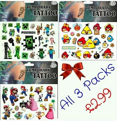 3x Xbox Games Collection Temporary Tattoos ~ Angry Birds Boys Party bag fillers