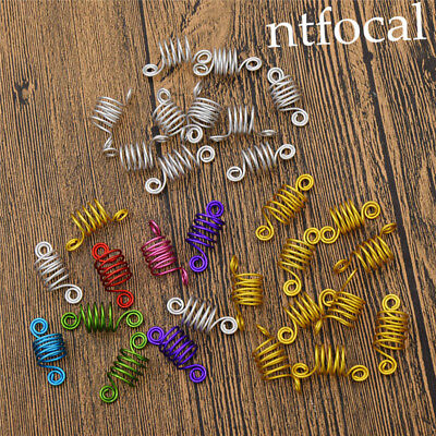 10x Spiral Spring Dread Cuffs Clips Dreadlock Adjustable Metal Jewelry For Hair