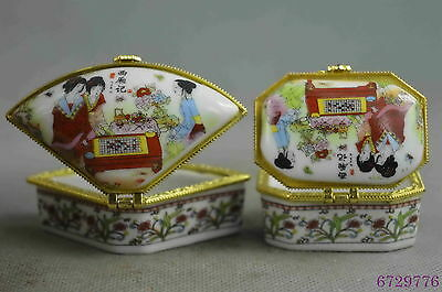 collection handwork decorative porcelain paint belle one pair lucky jewel box