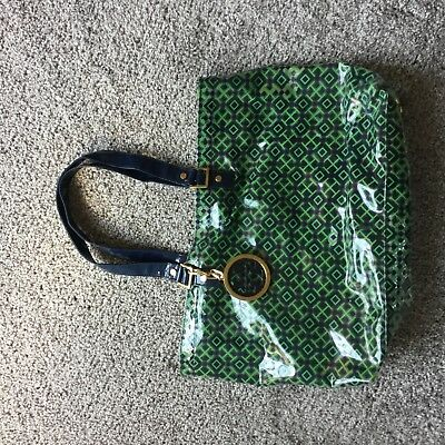 Womens designer TORY BURCH green and navy beach tote