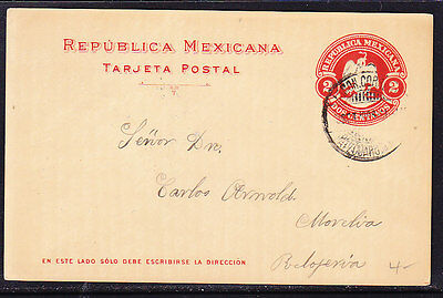 Mexico 1900 Embossed - 2c Red Letter card Addressed