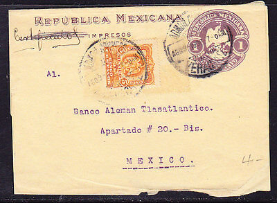 Mexico 1906 Embossed - 1c Purple Wrapper Uprated Local Address