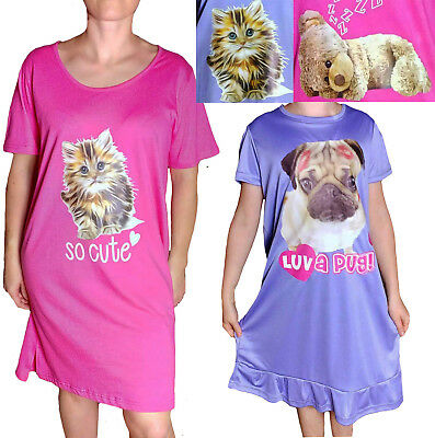 Ladies & Girls Nightdress Nightie PUG TEDDY CAT Size 8 -26 Age 3-13 Nightshirts