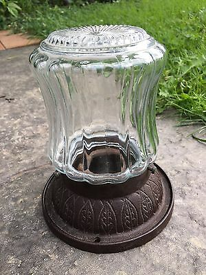 1930's Octagon Glass Globe Cast Iron Porch Ceiling Light