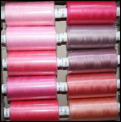 10 Reels Pink Moon Spun Polyester Sewing Thread Cotton - 1000 Yard Reels