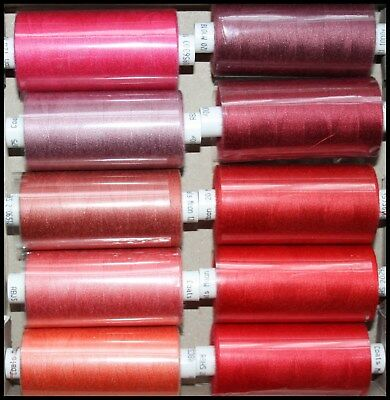 10 Reels Reds & Pinks Moon Spun Polyester Sewing Thread Cotton - 1000 Yard Reels