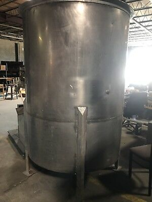 750 Gallon Stainless Steel Vertical Tank, APPROX 7FT TALL on legs