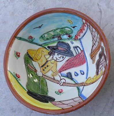 Portuguese Traditional Bowl Hand Painted with Man from Alentejo making bread