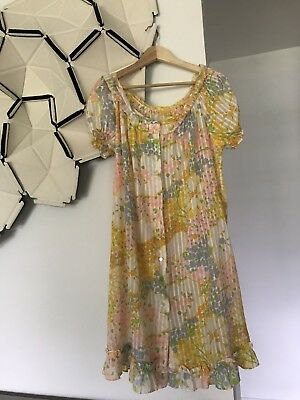 Vintage Women's Pastel Floral Button Up Ruffle Night Gown House Dress Duster