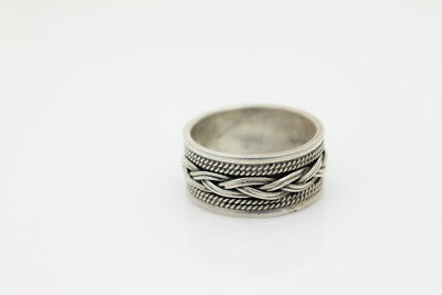 Wide Sterling Silver Bali Style Ring Band w Braided Rope Design Artisan Sz 7.5