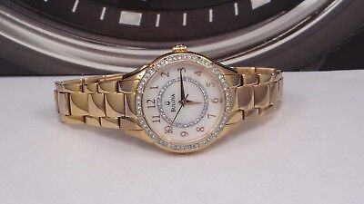 Bulova 98L183 Women's Rose Gold Mother of Pearl Dial Crystal Accented Watch