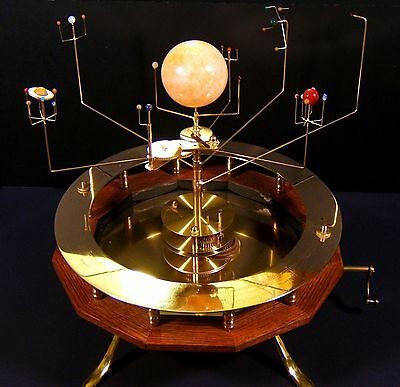 """Orrery: """"Classic"""" handcrank solar system - 9 planets in beautiful stone or brass"""