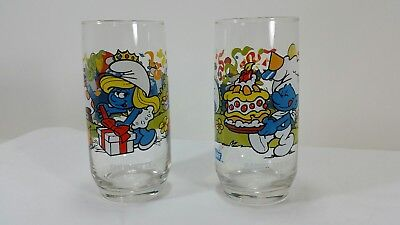 Vintage 1983 Peyo Smurf Drinking Glasses Lot of 2 Baker Smurf and Smurfette