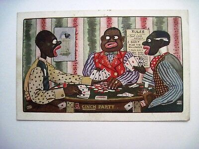 1910 Black Americana Post Card w/ Boys Playing Cards w/ Bling - Used *