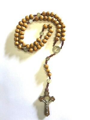 Brown Wooden Beads Religious Rosary With wooden Cross-Praying or Hanging