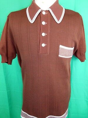 Vintage 1960s 70s Dark Brown & White Acetate Nylon Mod Style Polo Shirt OS L
