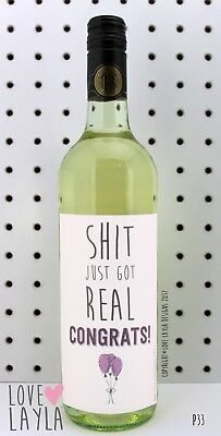 Wine Label Shit Just Got Real/Comedy/Novelty/Funny/Humour/Love Layla/#CC