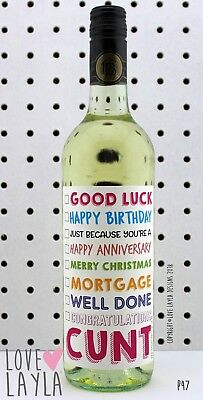 Wine Label/cunt/goodluck/wine/welldone/congrats/Funny/Humour/Love Layla Aust/P47