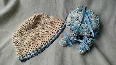 VTG infant crocheted blue cap and baby pin holder with blue rabbit safety pins