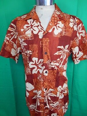 Vintage 'RJC' Orange Brown Floral Cotton USA Made Tiki Hawaiian Resort Shirt M
