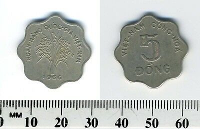 South Vietnam 1966 - 5 Dong Copper-Nickel Coin - Rice stalks - Scalloped - #1