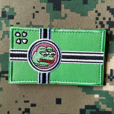 Kekistan Flag Embroidered Hook&Loop Patch-8.5x5cm 4chan Kek Meme pepe the Frog*2