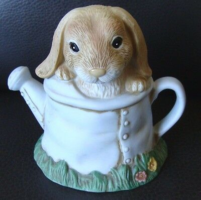"""Bunny in Watering Can Figurine - 4"""" Tall - 1999 - #14062-99 Homco Bunny Buddies"""
