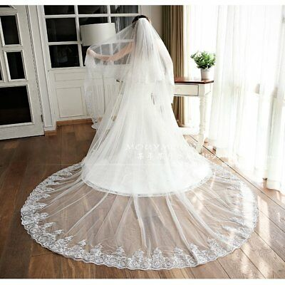 4m 13Feet White/Ivory Luxury Cathedral Wedding Lace Sequins Long Veil +Comb EW