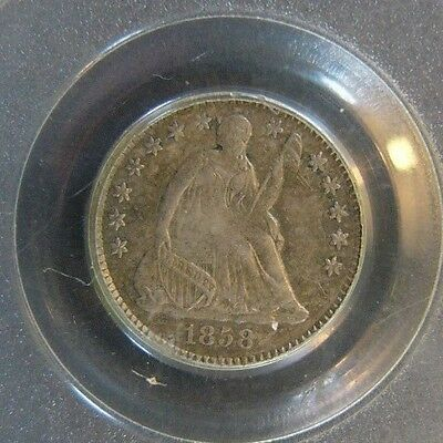 1858 Seated Liberty Half Dime PCGS AU 53 Cert# 19779086