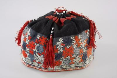 Early 20th Century CHINESE MIAO TRIBAL COLORFUL EMBROIDERED CHILD CAP HAT