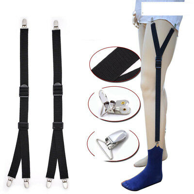 2pcs Men's Shirt Stays Holder Unifom Elastic Garter Belt Suspender Locking Clamp