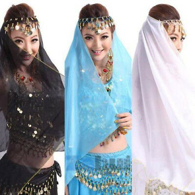 NEW Belly Dance Coin Face Veil Dancing Head Scarf Shawl Headpiece Costume AU