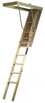 7-8 Ft Wood Attic Ladder Access Pull Down Door 250lbs Capacity Easy Installation