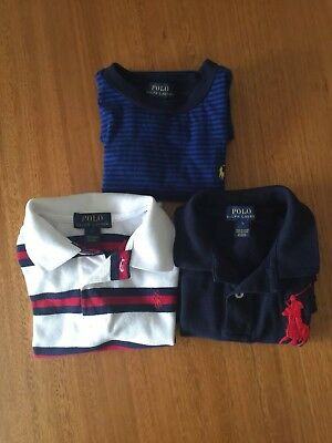 3x RALPH LAUREN Authentic Boys Polo Shirts Package Size 5! Good CONDITION!!