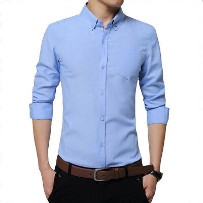 New Men's Clothing Long Sleeves Shirts Solid Slim Fit Cotton Dress Shirt Tops